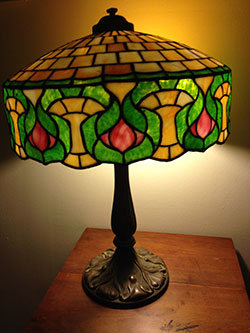 Opalescent Glass Lamp with Bronze Base